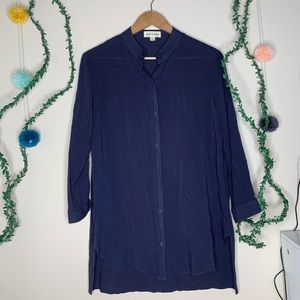 Cloth & Stone Navy Button Down High Low Tunic